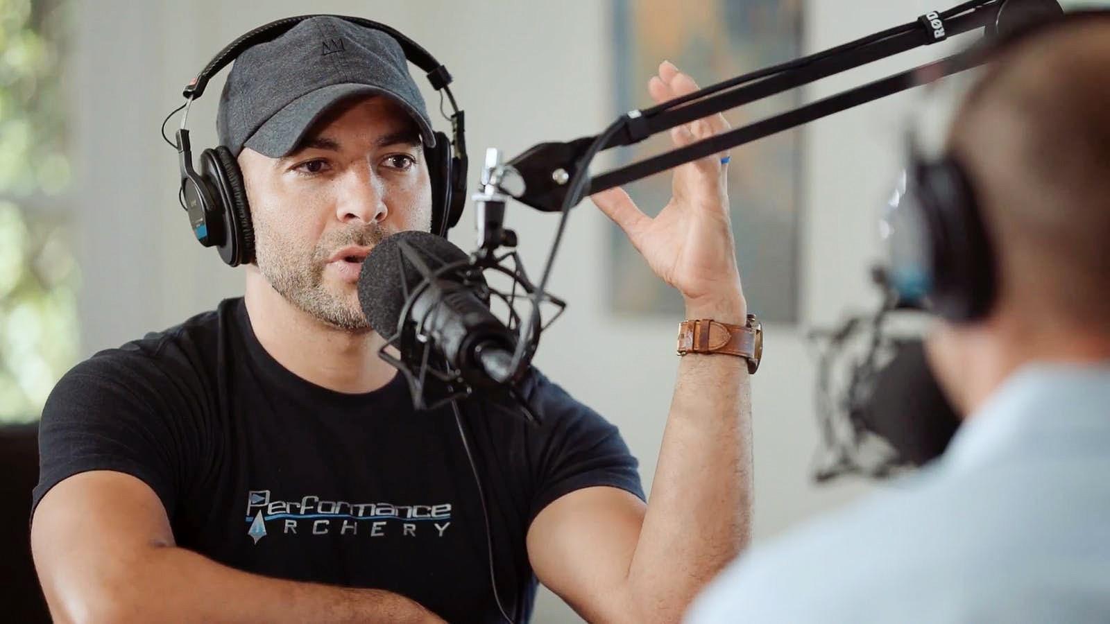 Peter Attia recording a podcast