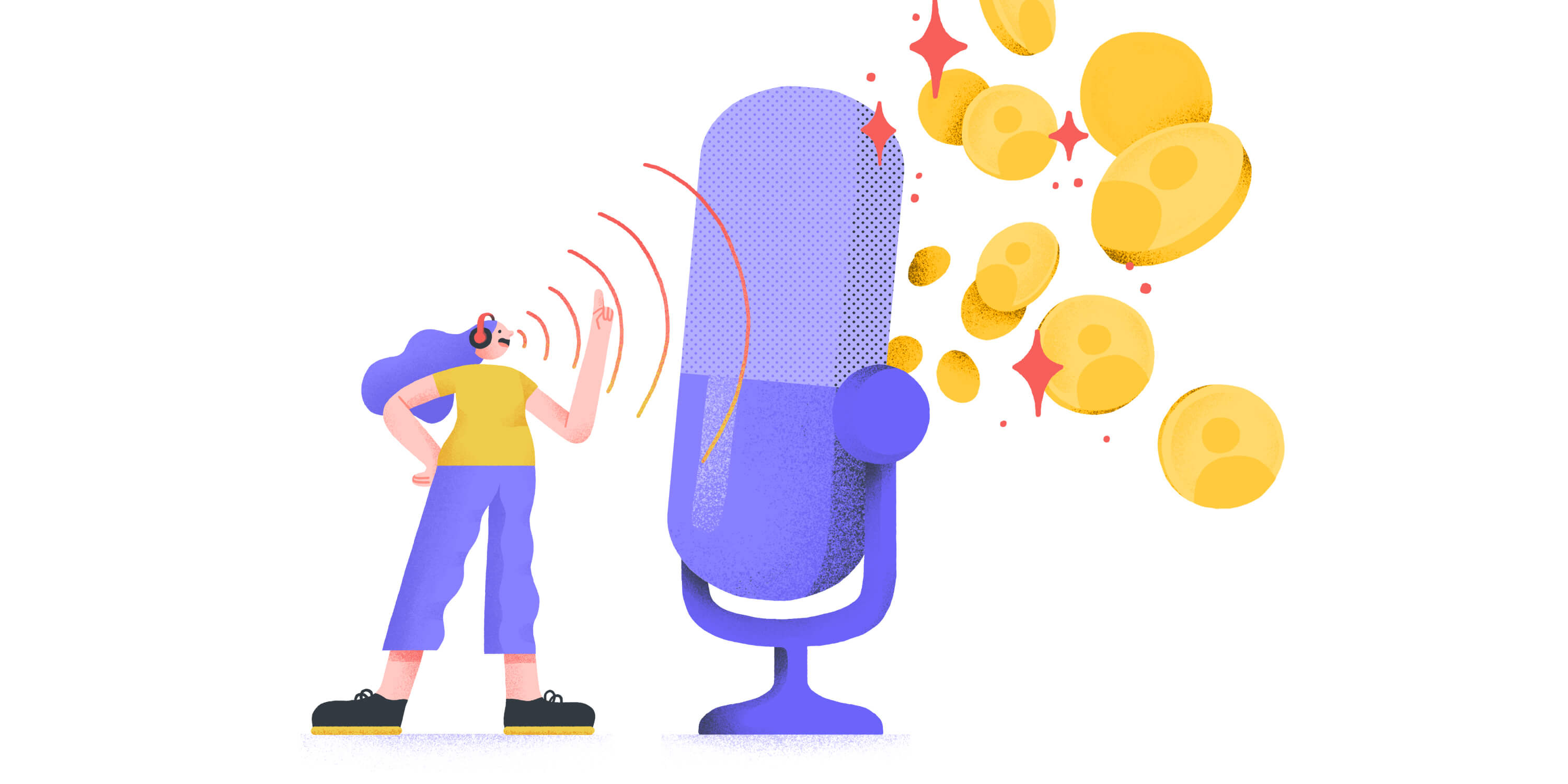 illustration of podcaster talking into a microphone