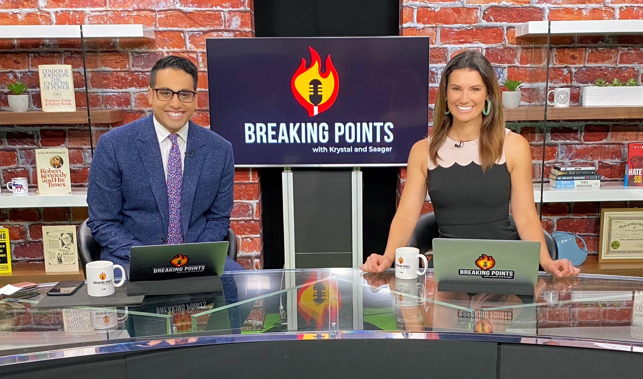 Saagar Enjeti & Krystal Ball, co-hosts of Breaking Points, on set