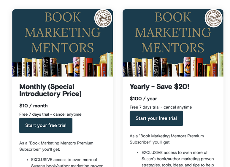 free podcast subscription trial for Book Marketing Mentors