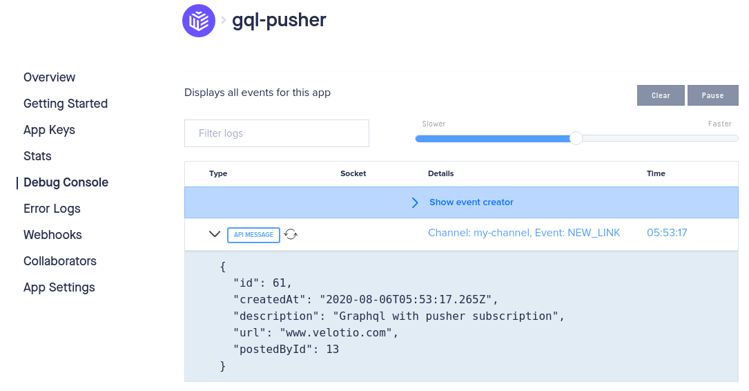 Event console on Pusher dashboard