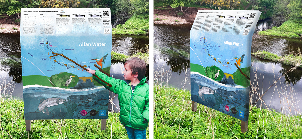 Mockup. Fishing sign by the rivers edge, shown at two angles. A little boy stands by one pointing at the map with a stick. Showing perspective.