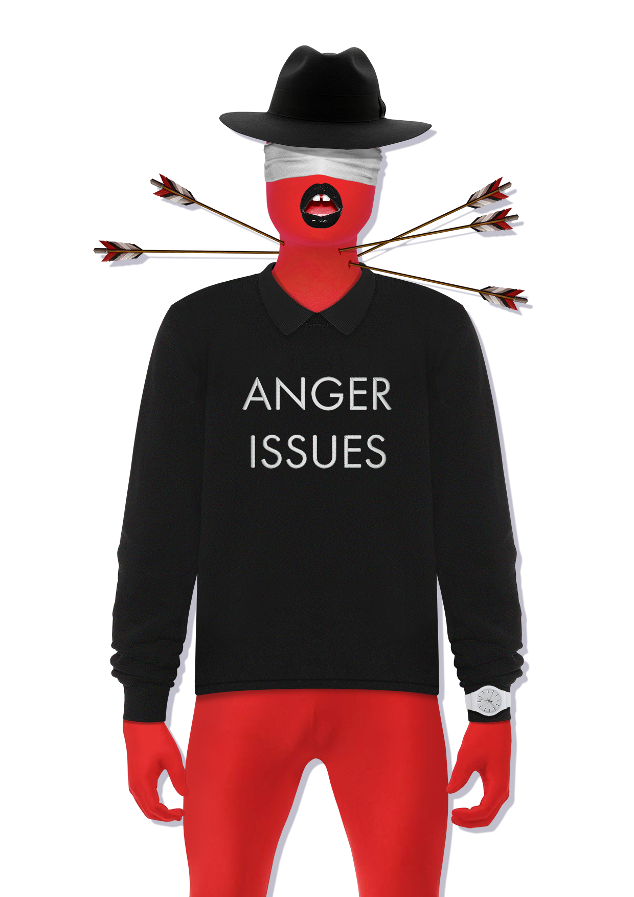 Anger Issues Neothinker Sweatshirt Black - Anger Issues text on the chest - Polo Collar Sweatshirt