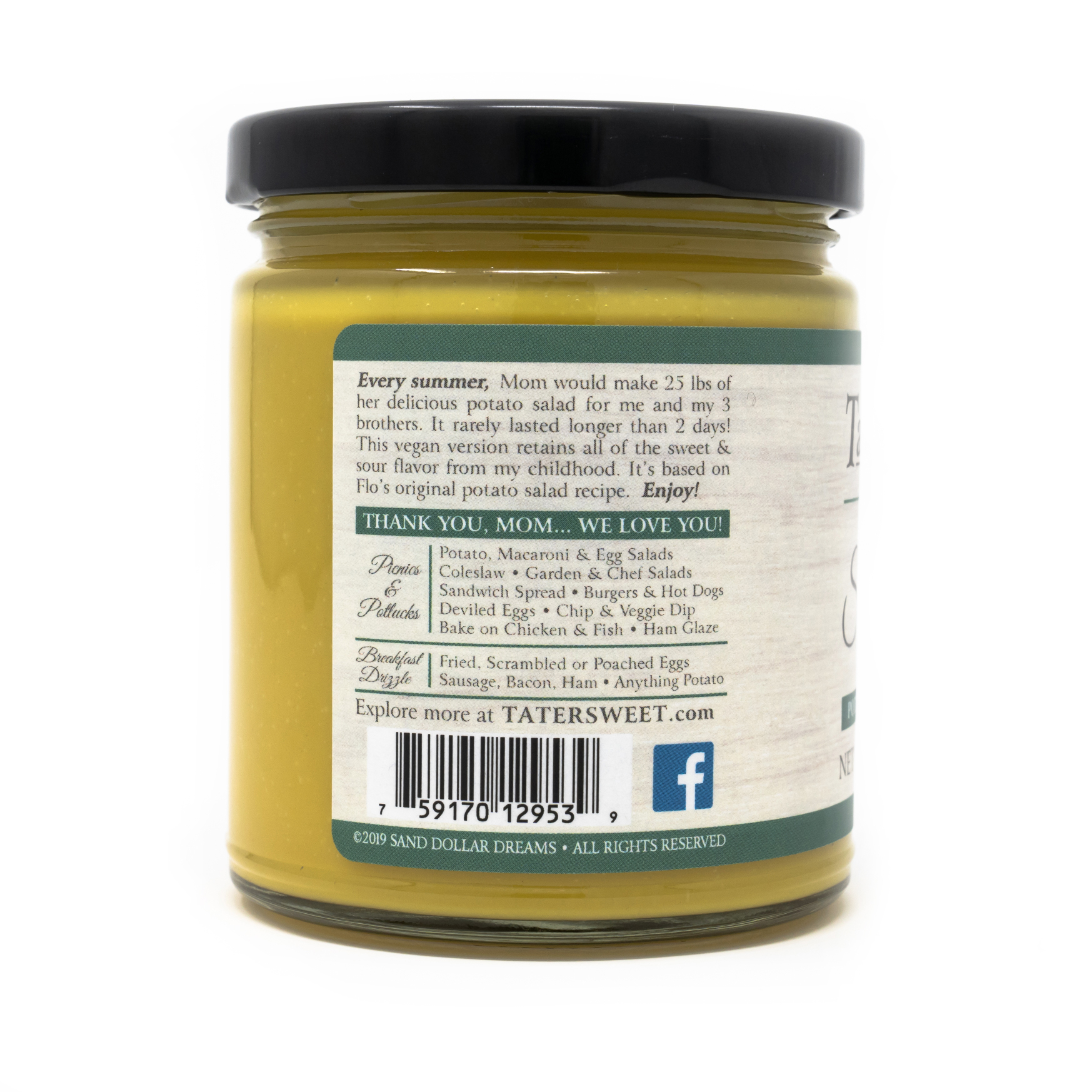 TaterSweet single jar, About Us label.