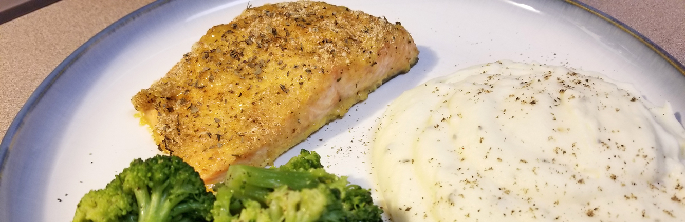 TaterSweet Baked Salmon with mashed potatoes and broccoli