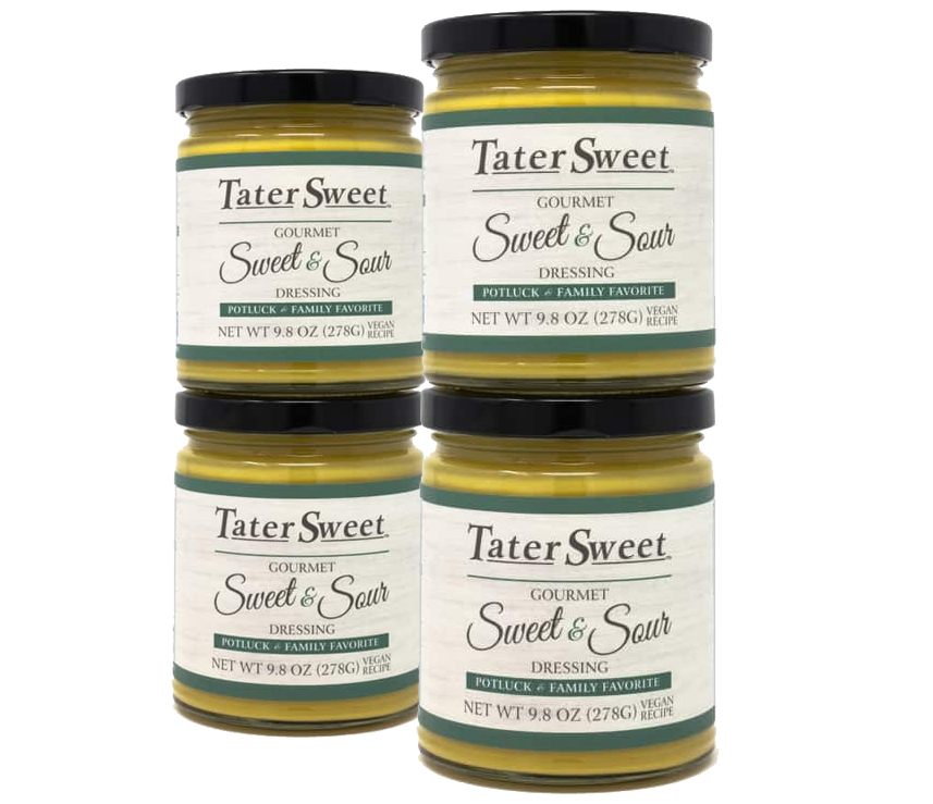 4 glass jars filled with TaterSweet Gourmet Dressing - Vegan