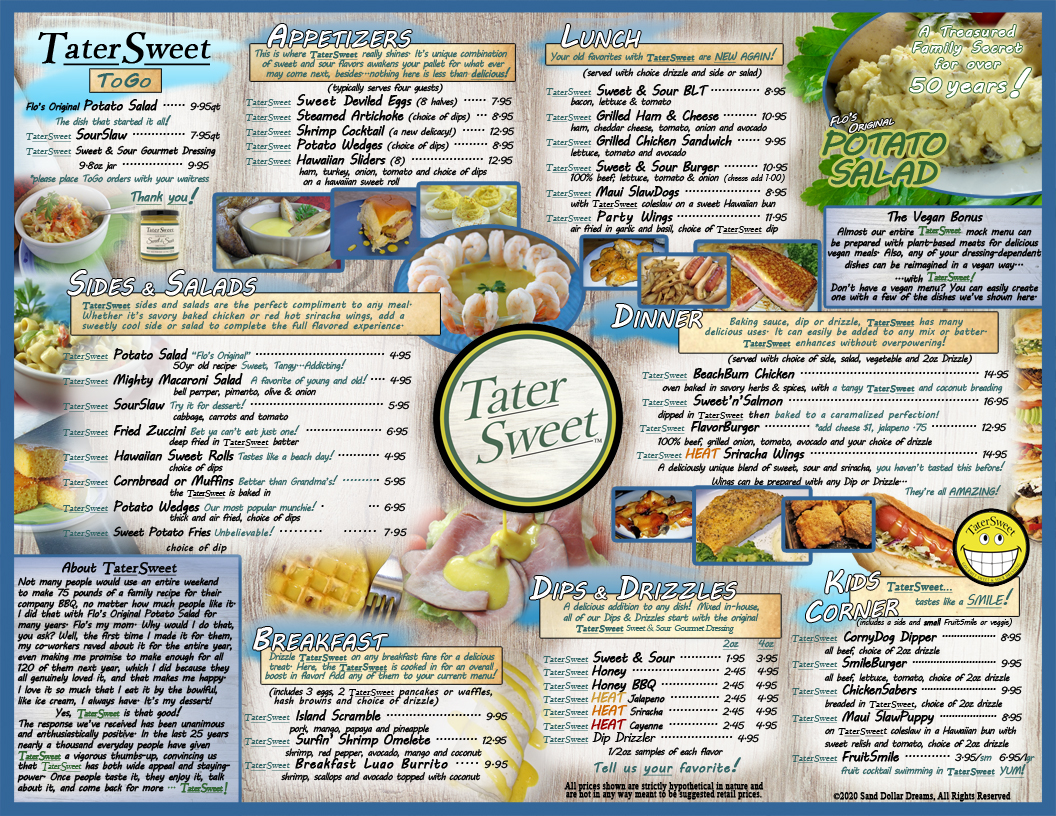 A mock-up Menu of TaterSweet Delicacies.