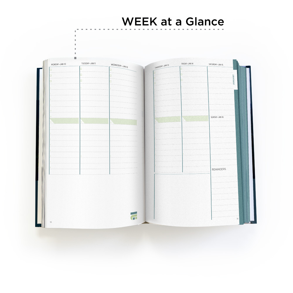 Month at a glance pages with your branding