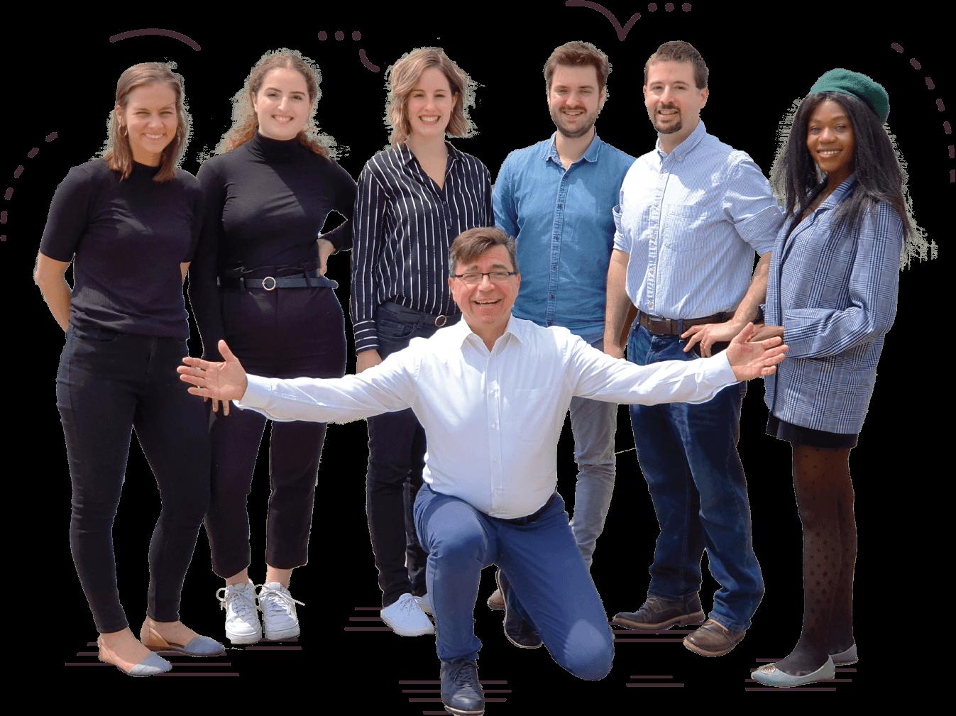 A Café English csapata; tanárai és az alapító