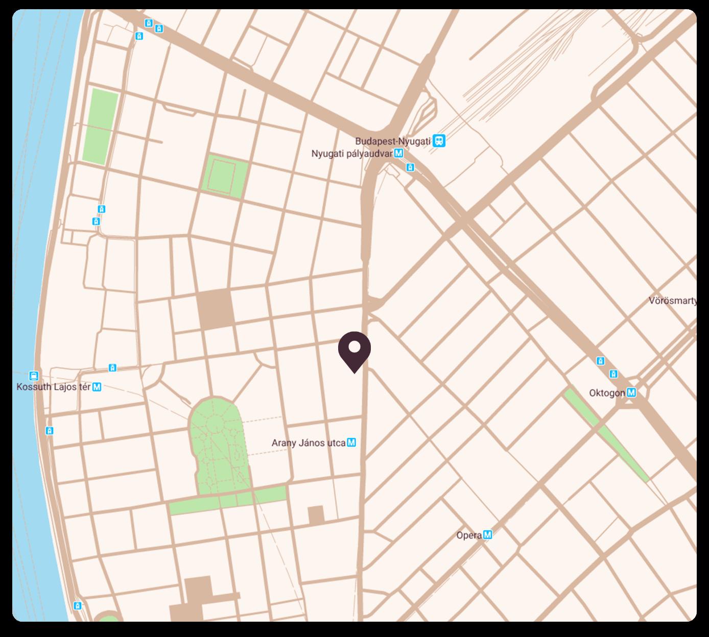 Térkép, mley  a Café English iskola helyszínét jelöli