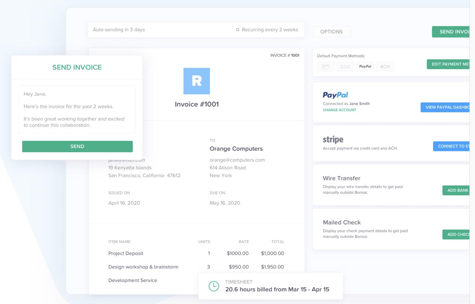 hello bonsai freelancer proposal invoice software
