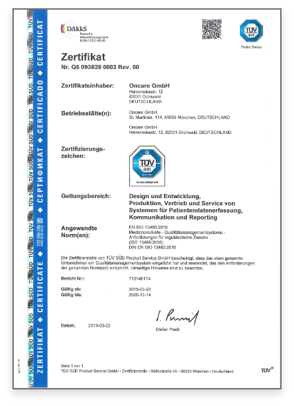 TUV certification in German