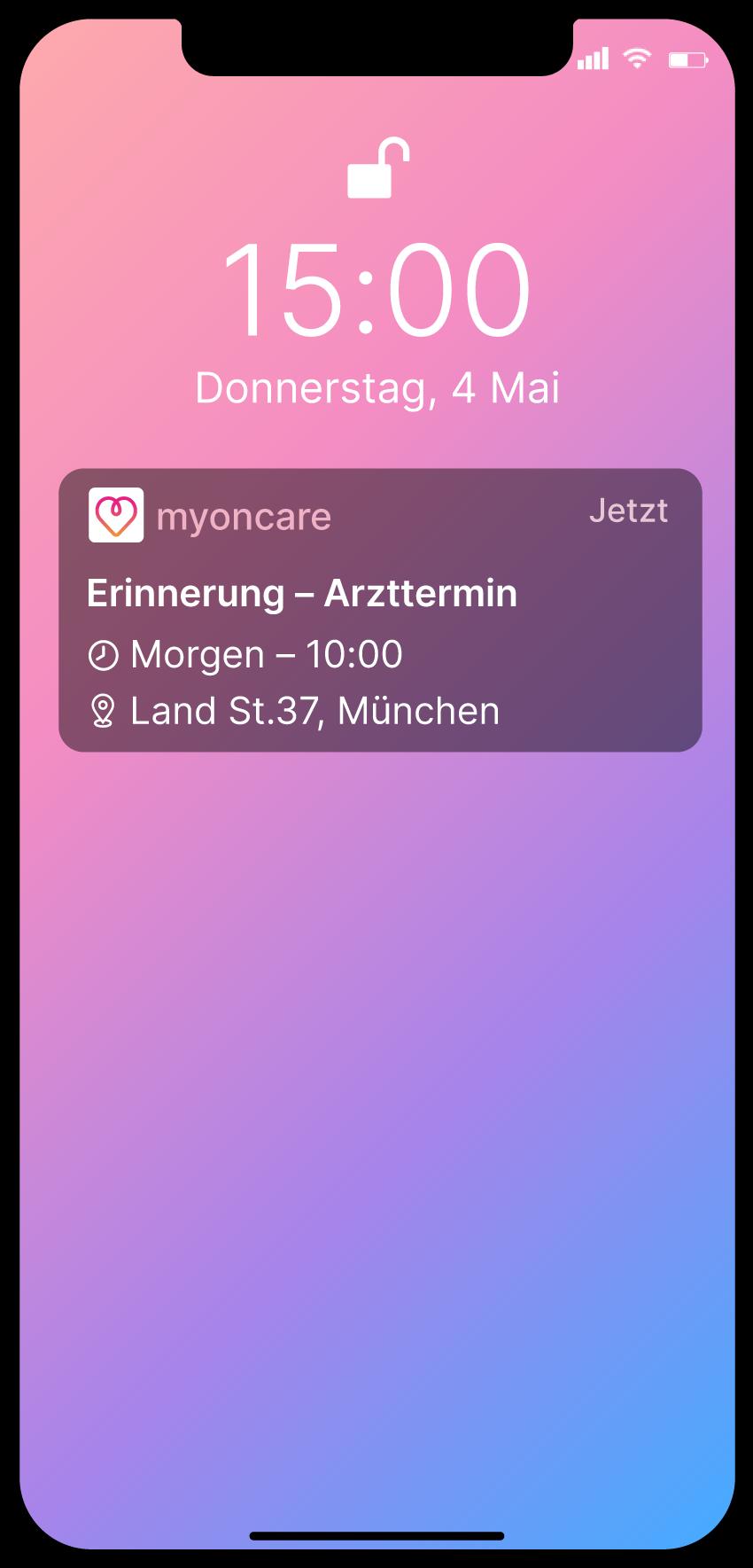 Ein Screenshot des Home Bildschirms eines Smartphones mit einer Erinnerung der myoncare App