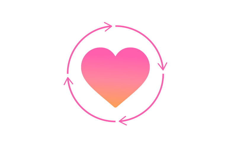 Pink icon with a heart encircled by four pegs