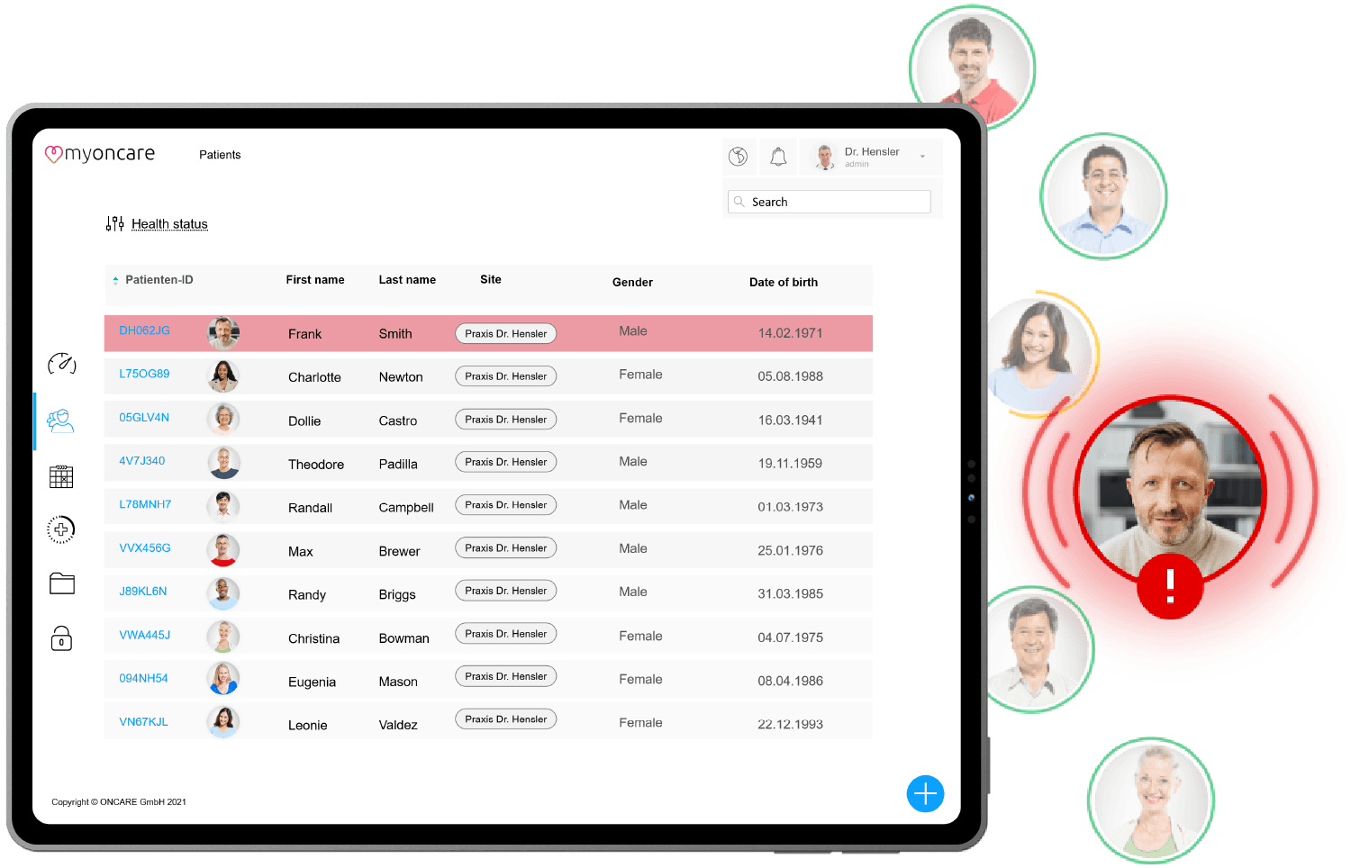 A screenshot of the myoncare web app with the patient overview. Next to it, profile pictures of patients with a patient highlighted in red.
