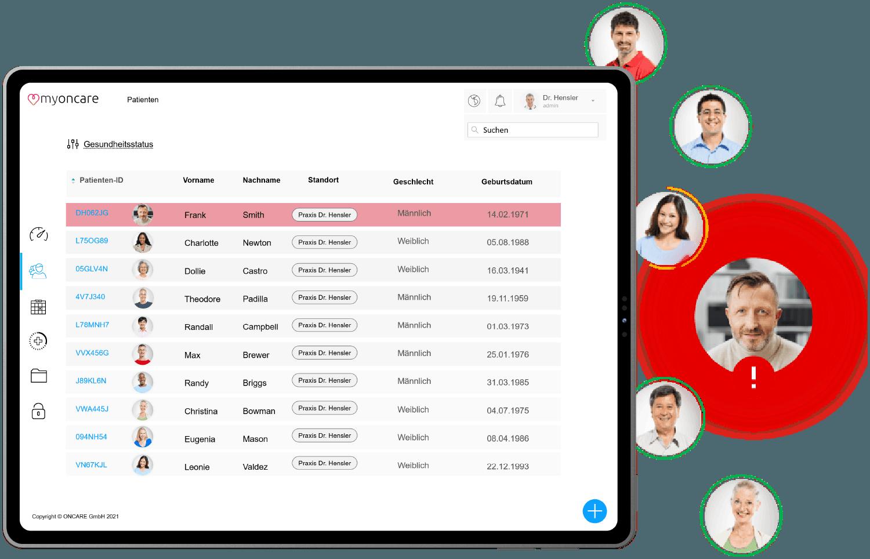 Ein Screenshot der myoncare Web App mit der Patientenübersicht. Daneben Profilbilder von Patienten mit einem Patienten rot hervorgehobenen