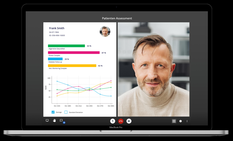 Ein Screenshot der myoncare App, der einen Videocall mit einem Patienten und gleichzeitig relevante Werte des Patienten anzeigt