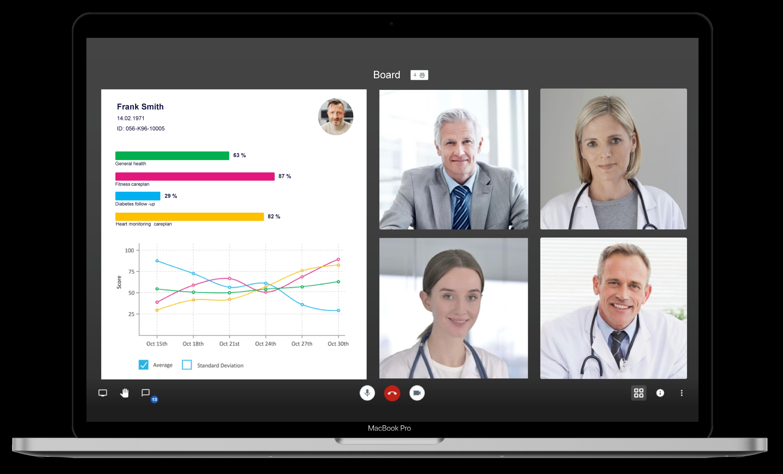 Ein Screenshot der myoncare App, der eine Videokonferenz mit verschiedenen Ärzten zeigt