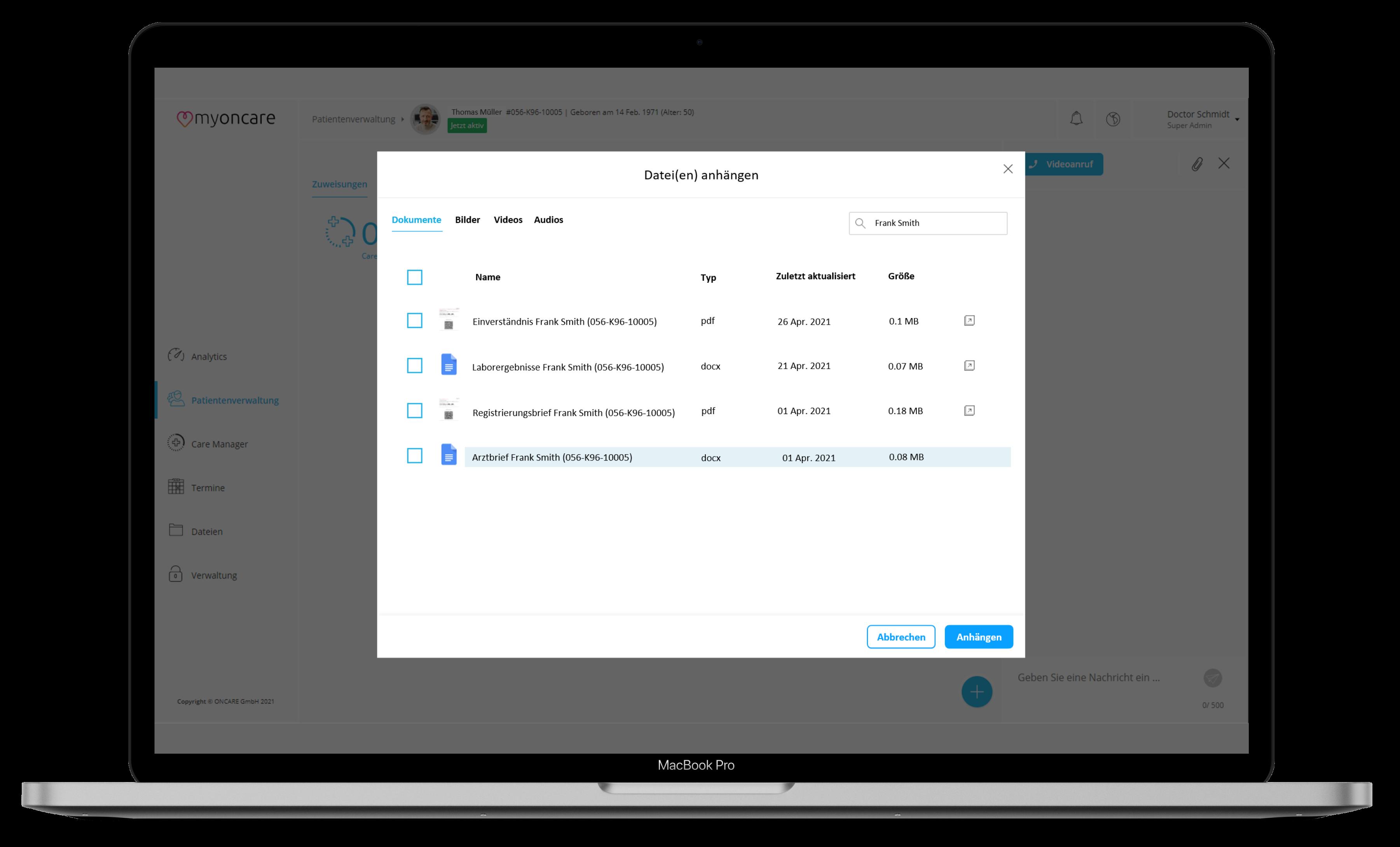 Ein Screenshot der myoncare App, mit dem Asset Management (Verwaltung von Dateien)