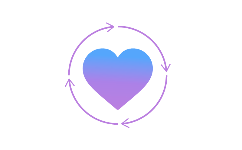 Icon of a heart surrounded by four arrows