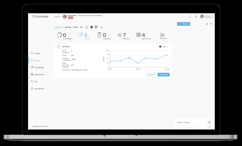 Ein Screenshot der myoncare Web App mit der Patienten Detailansicht