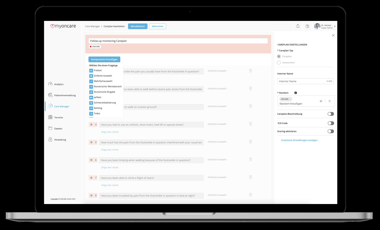 Ein Screenshot der myoncare Web App mit dem Content Management System (Care Manager)