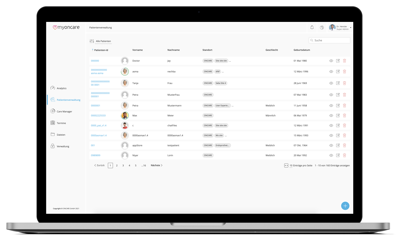 Ein Screenshot der myoncare Web App mit der Patientenübersicht für Ärzte