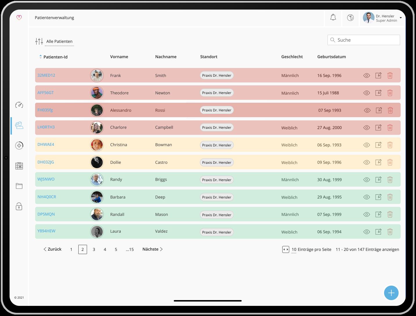 Ein iPad, das die myoncare Web App mit der Patientenübersicht zeigt