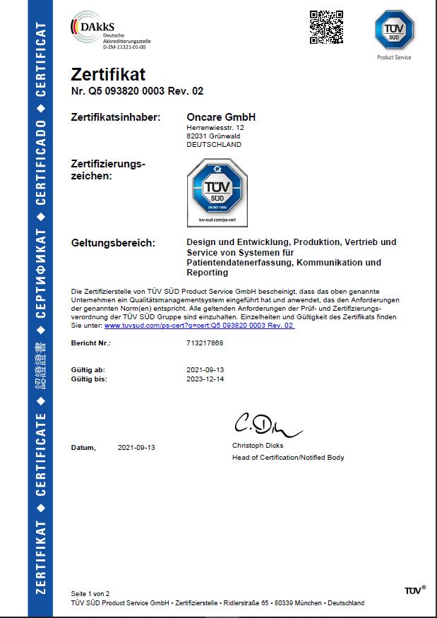 TUV certification in english