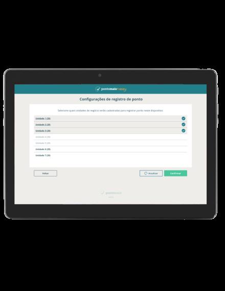 Tablet com configuração do App