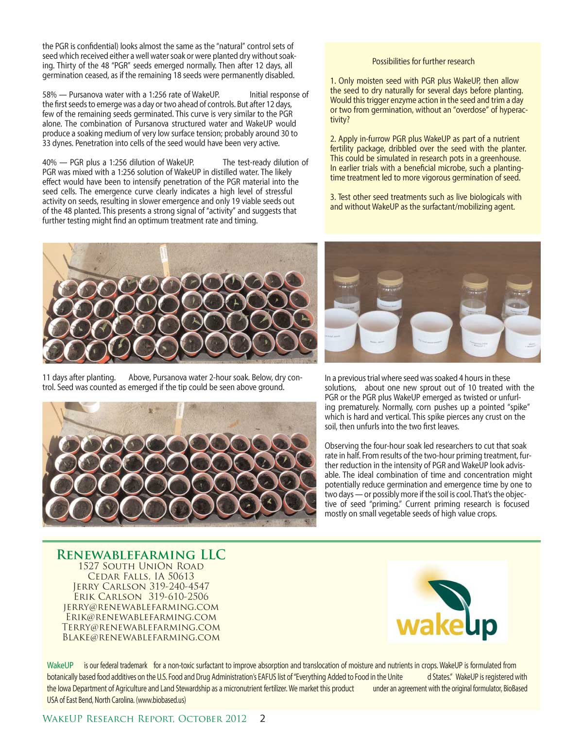 Water Enhanced Seed Germination