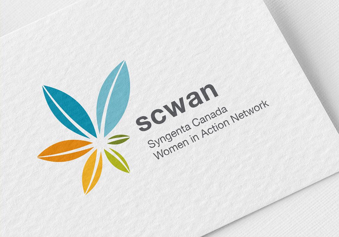 scwan logo on a business card