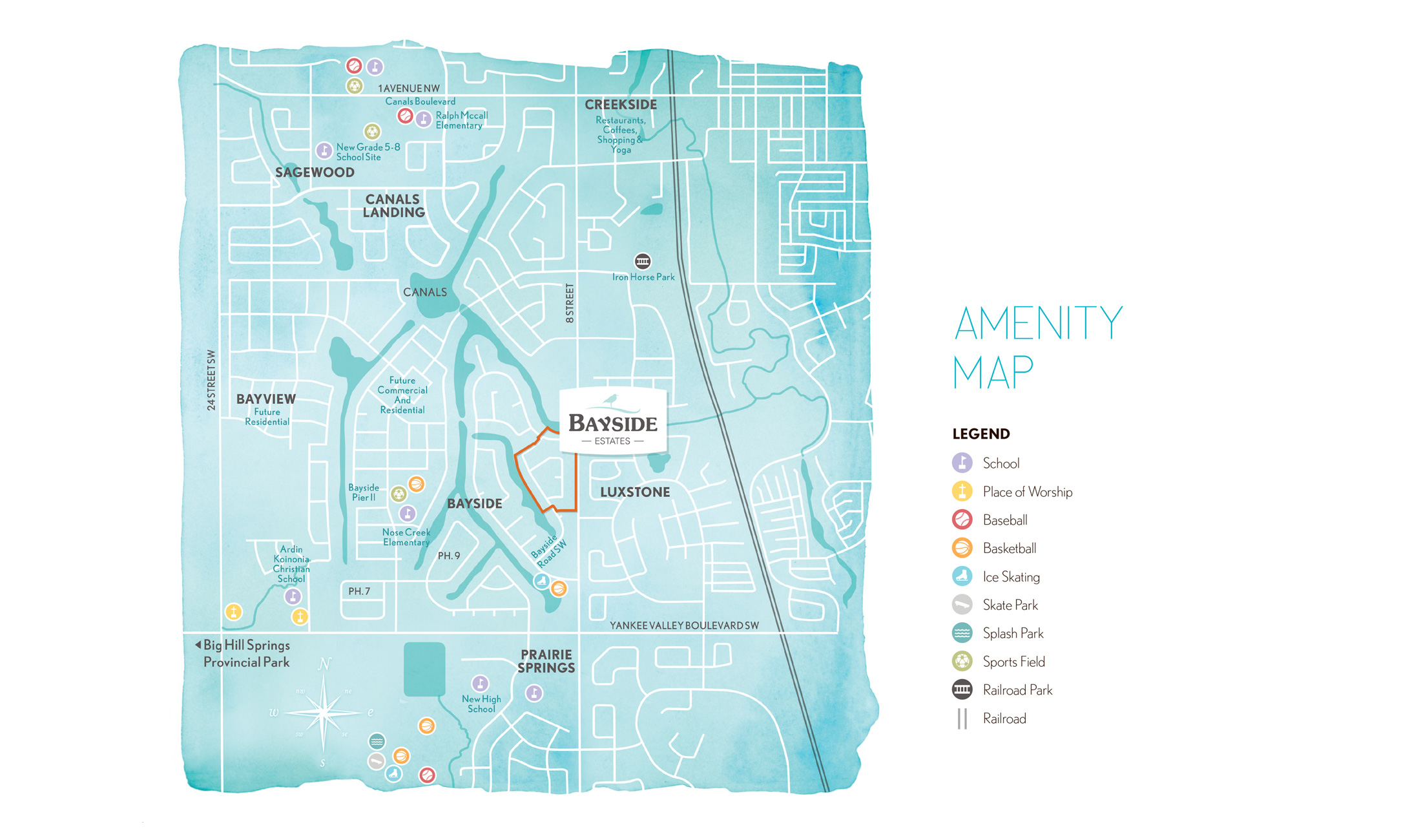 Bayside Estates custom amenity map from brochure