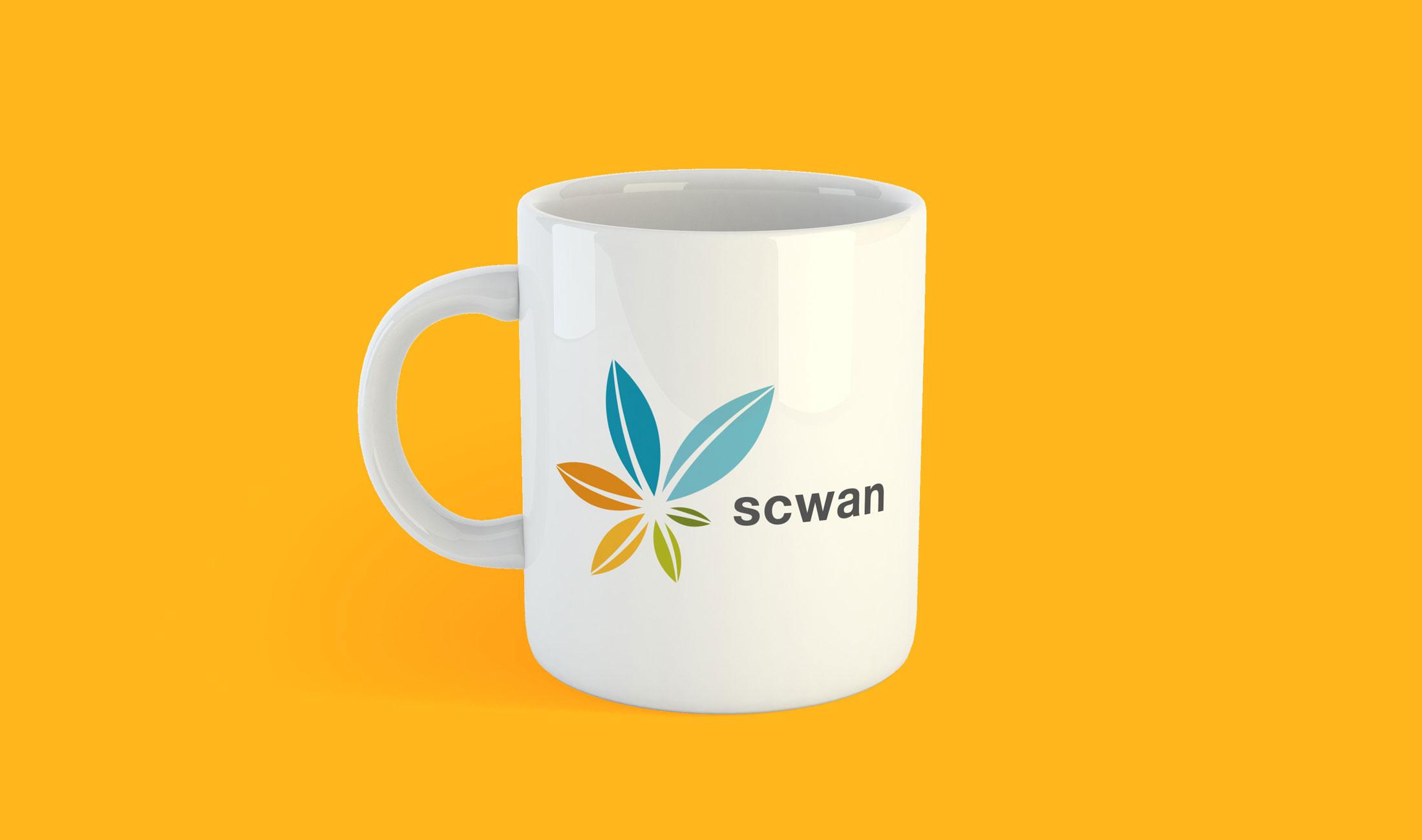 scwan logo on a coffee mug