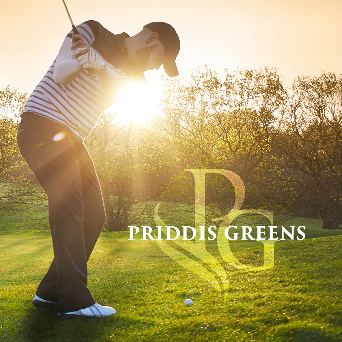 Priddis Greens logo on a golfer image