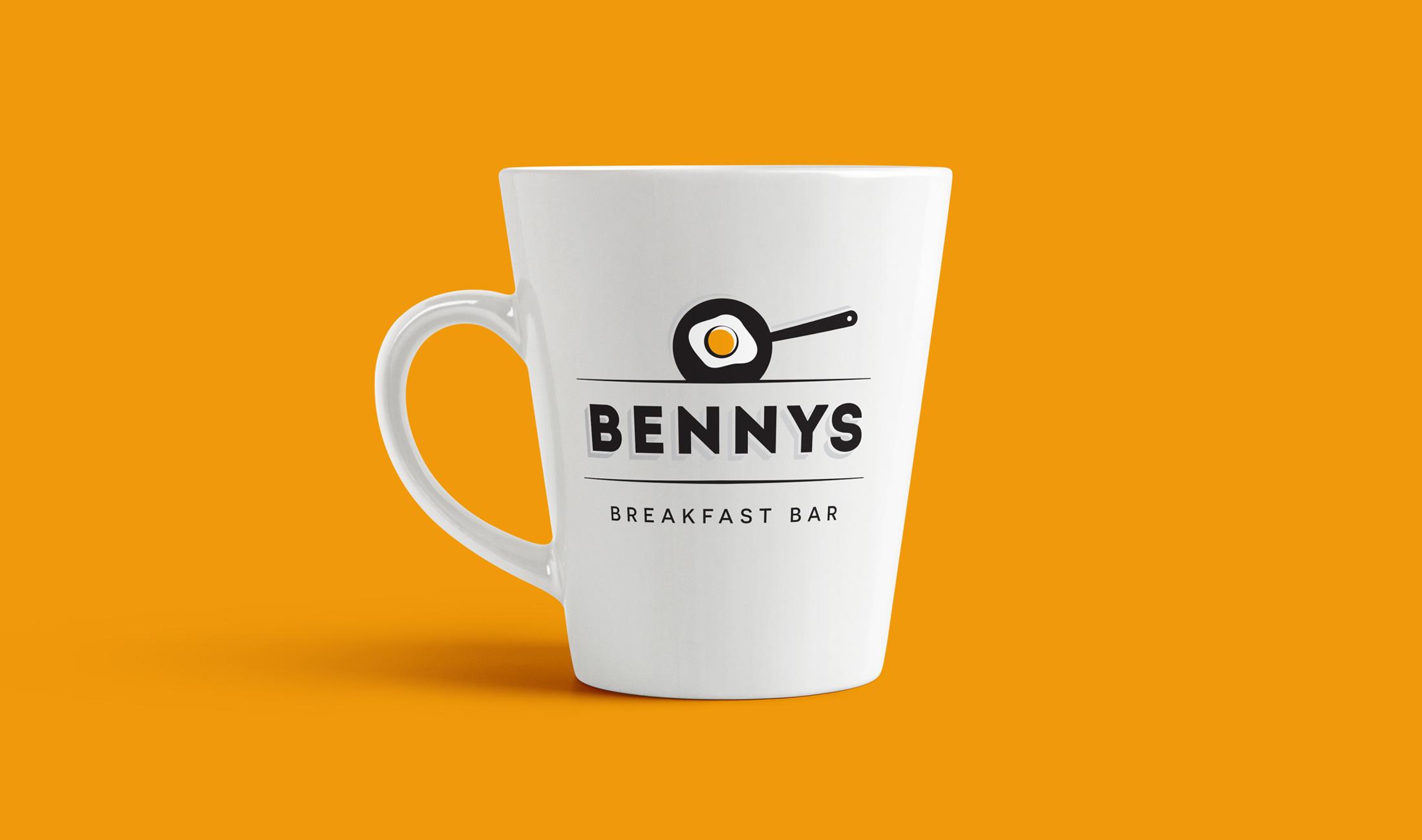 Bennys logo on a coffee mug