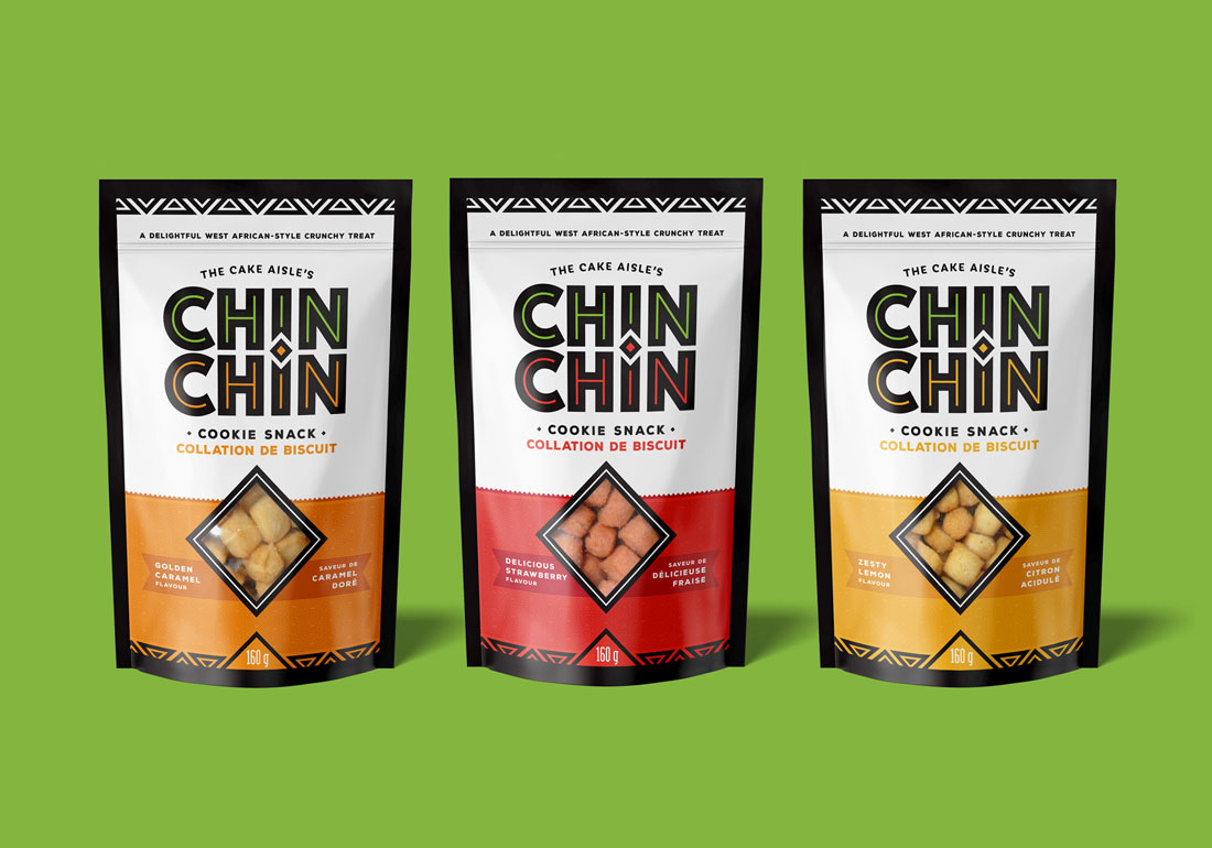 Three bags of chin chin cookie snacks
