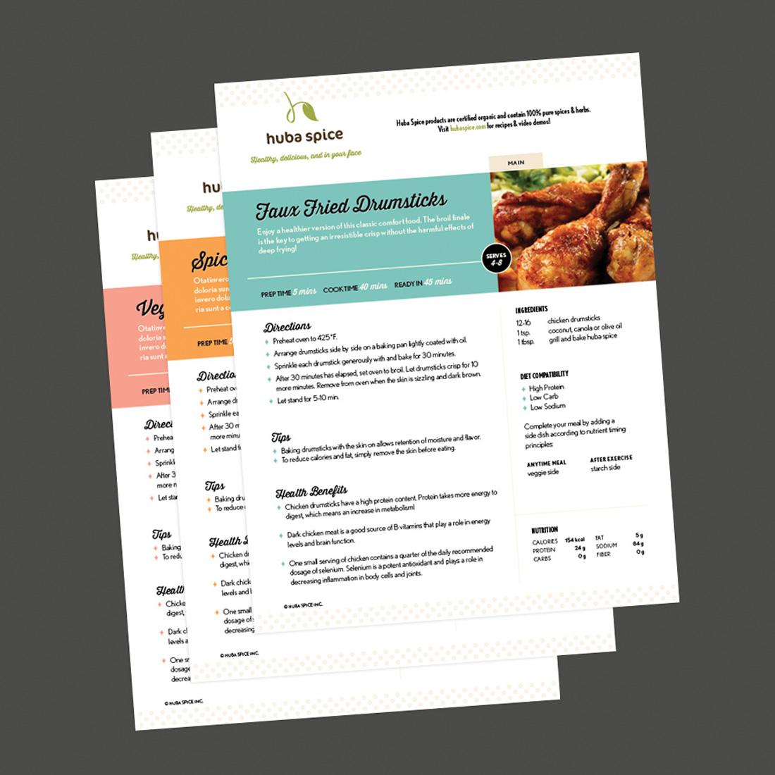 Huba Spice recipe sheets design
