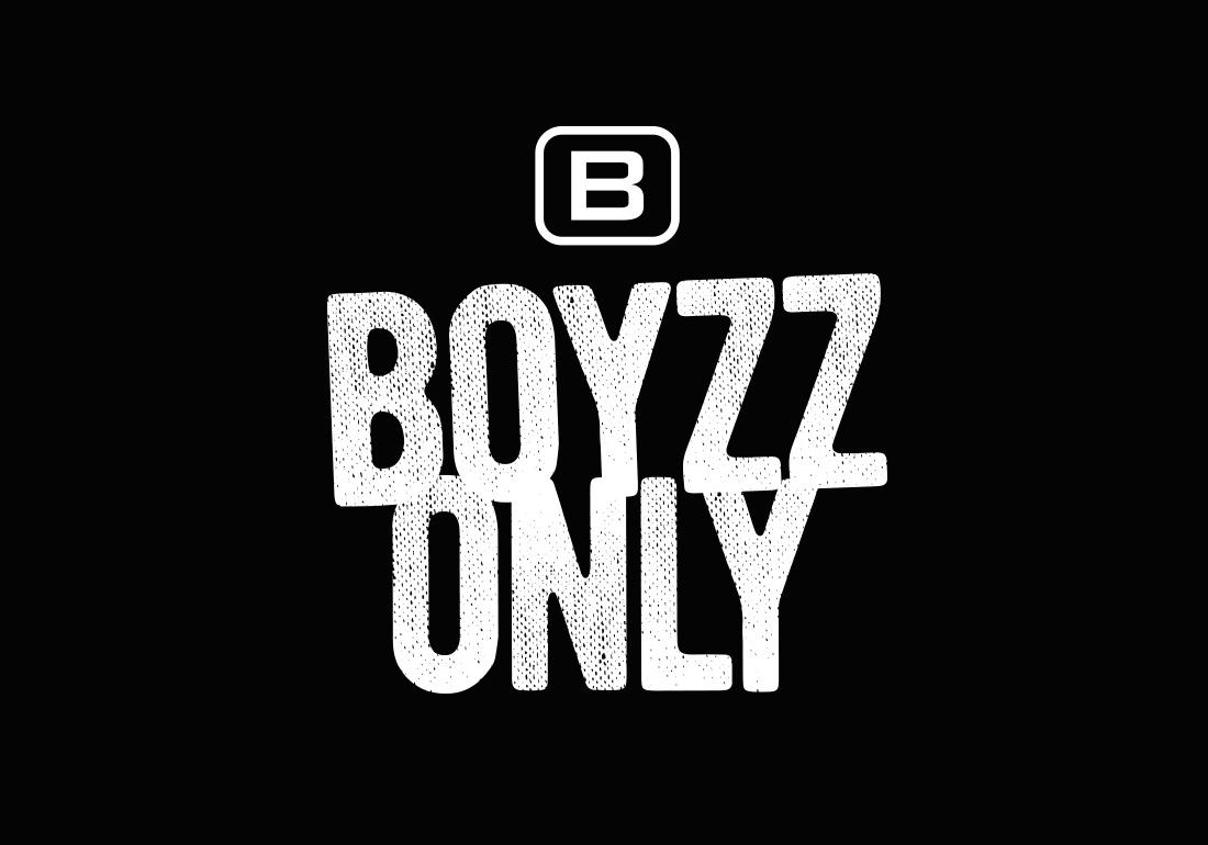 Boyzz Only logo design on a black background
