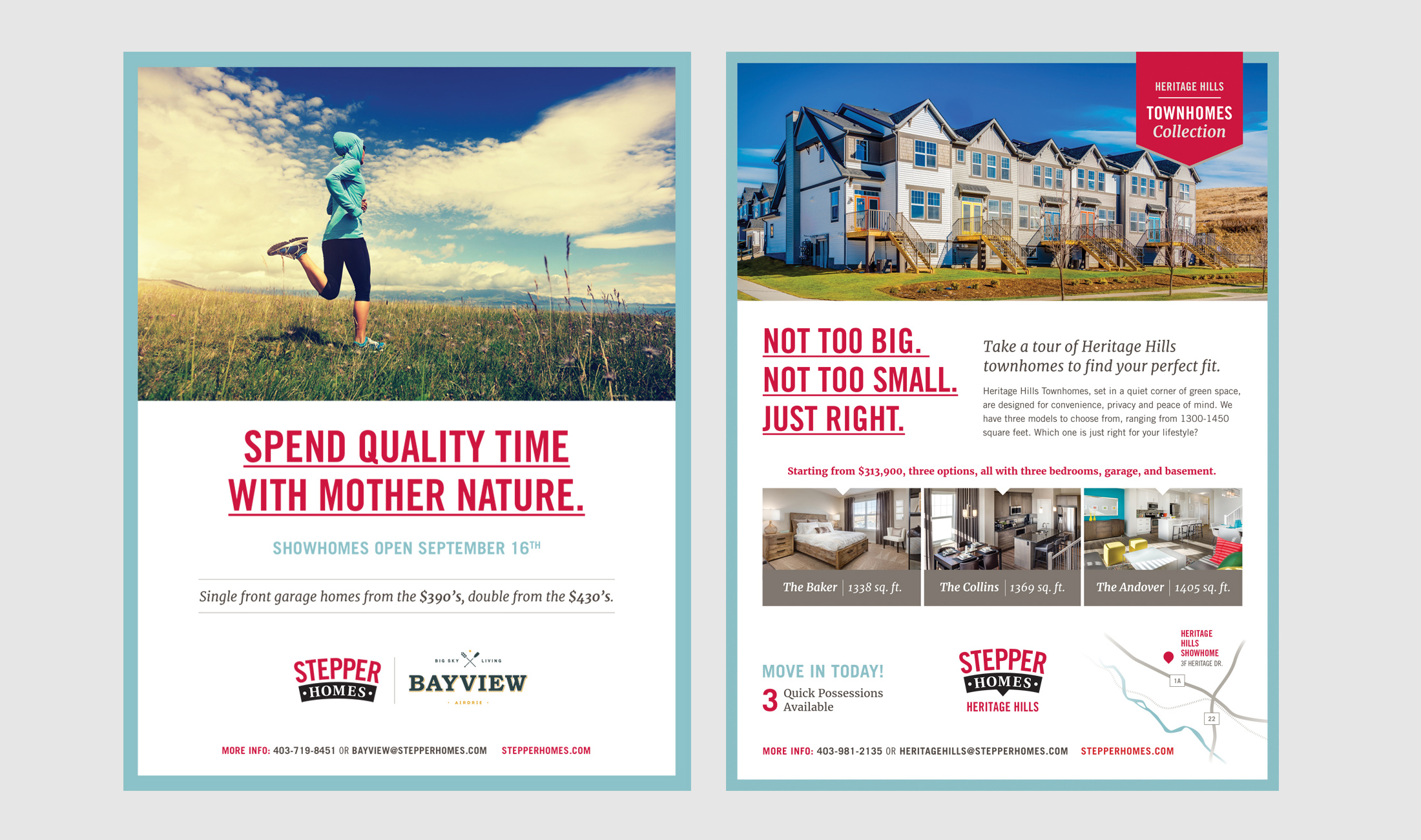 Stepper Homes print ads for Bayview and Heritage Hills