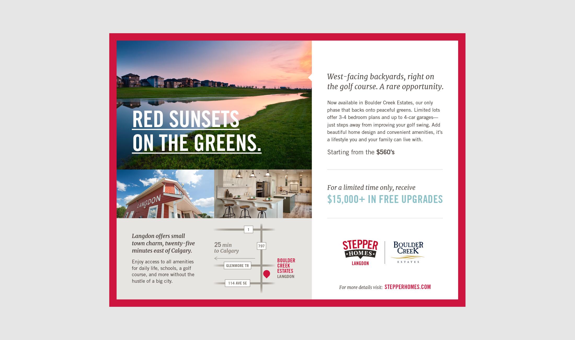 stepper homes print ad for boulder creek