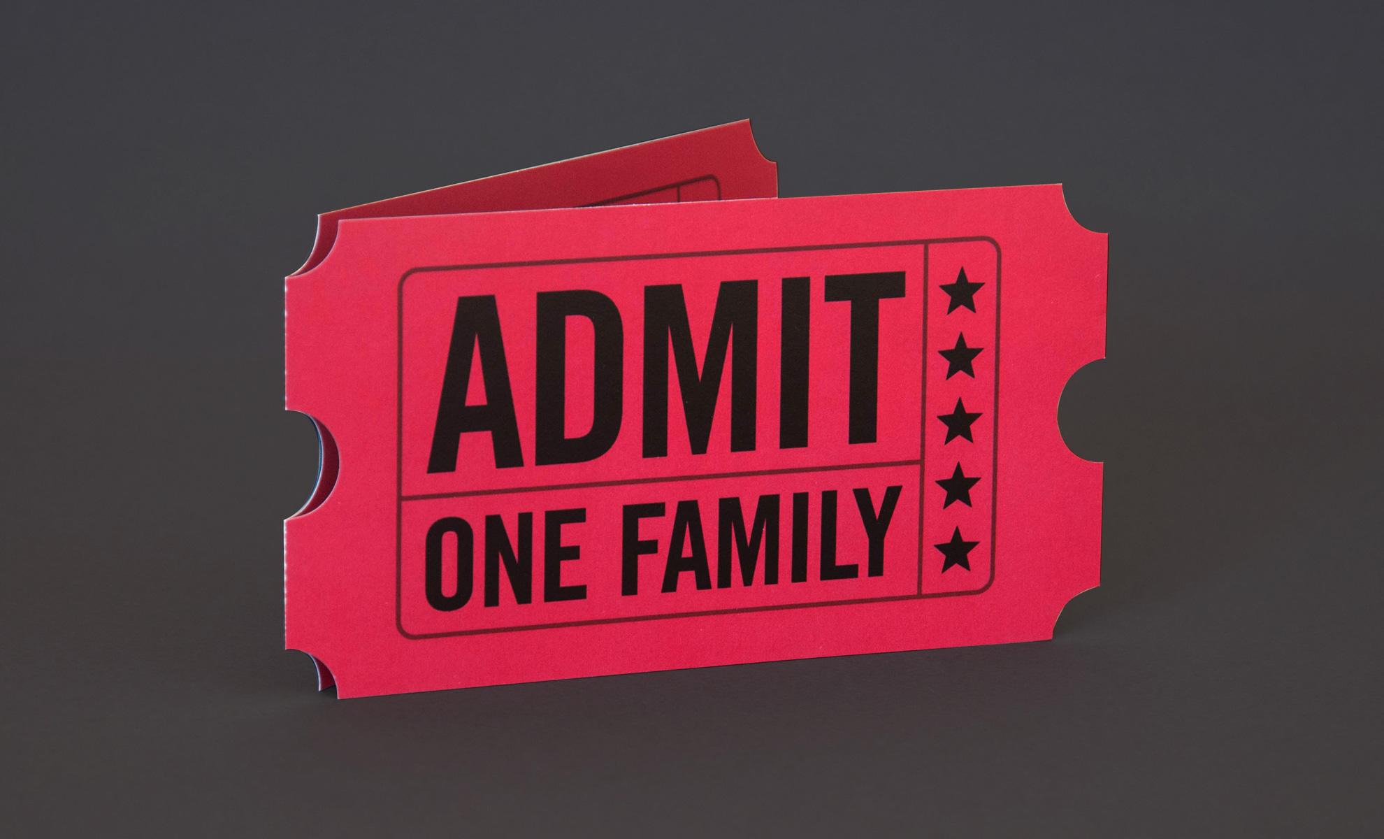 Stepper Homes movie ticket invitation design front