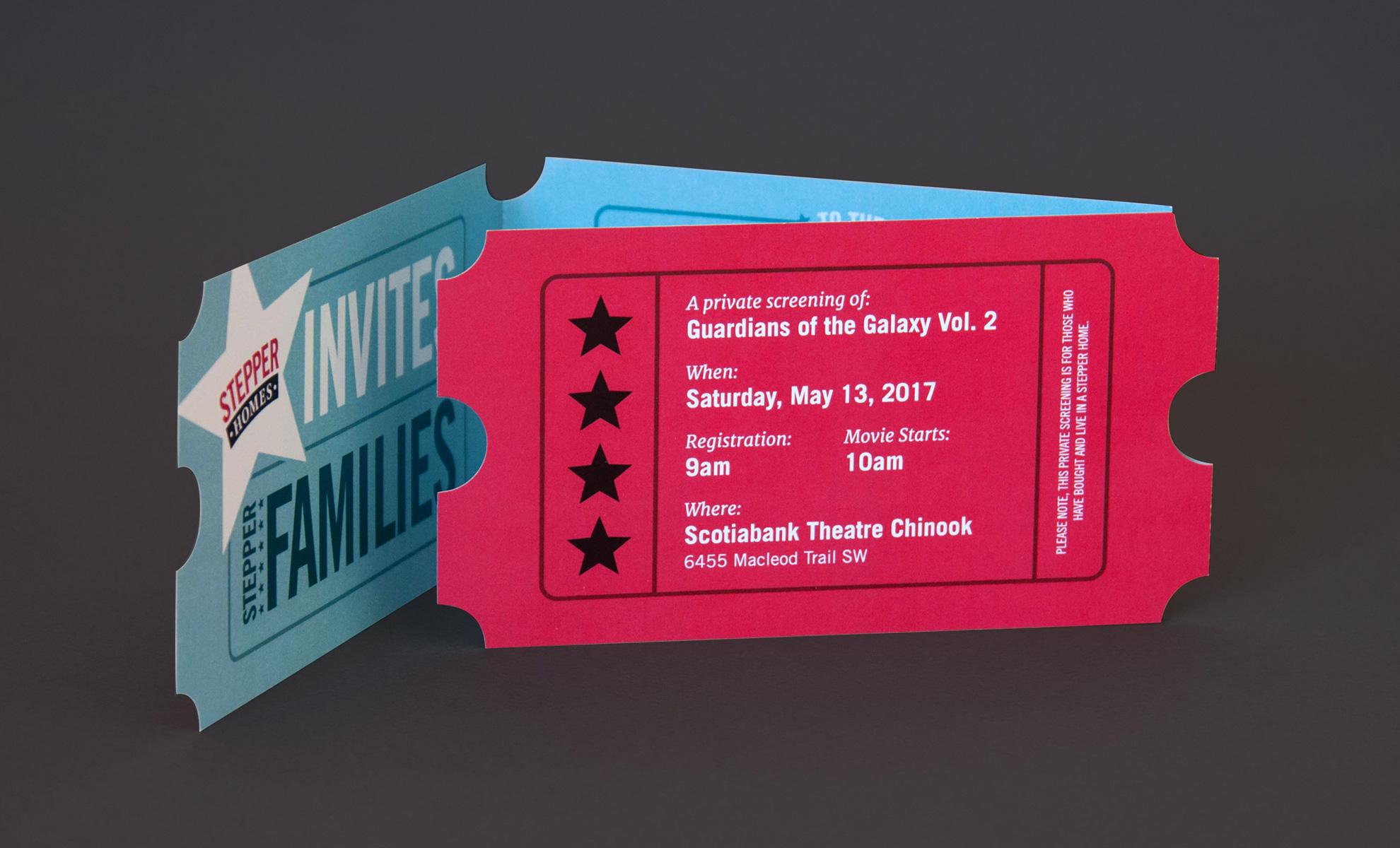 Stepper Homes movie ticket invite design inside