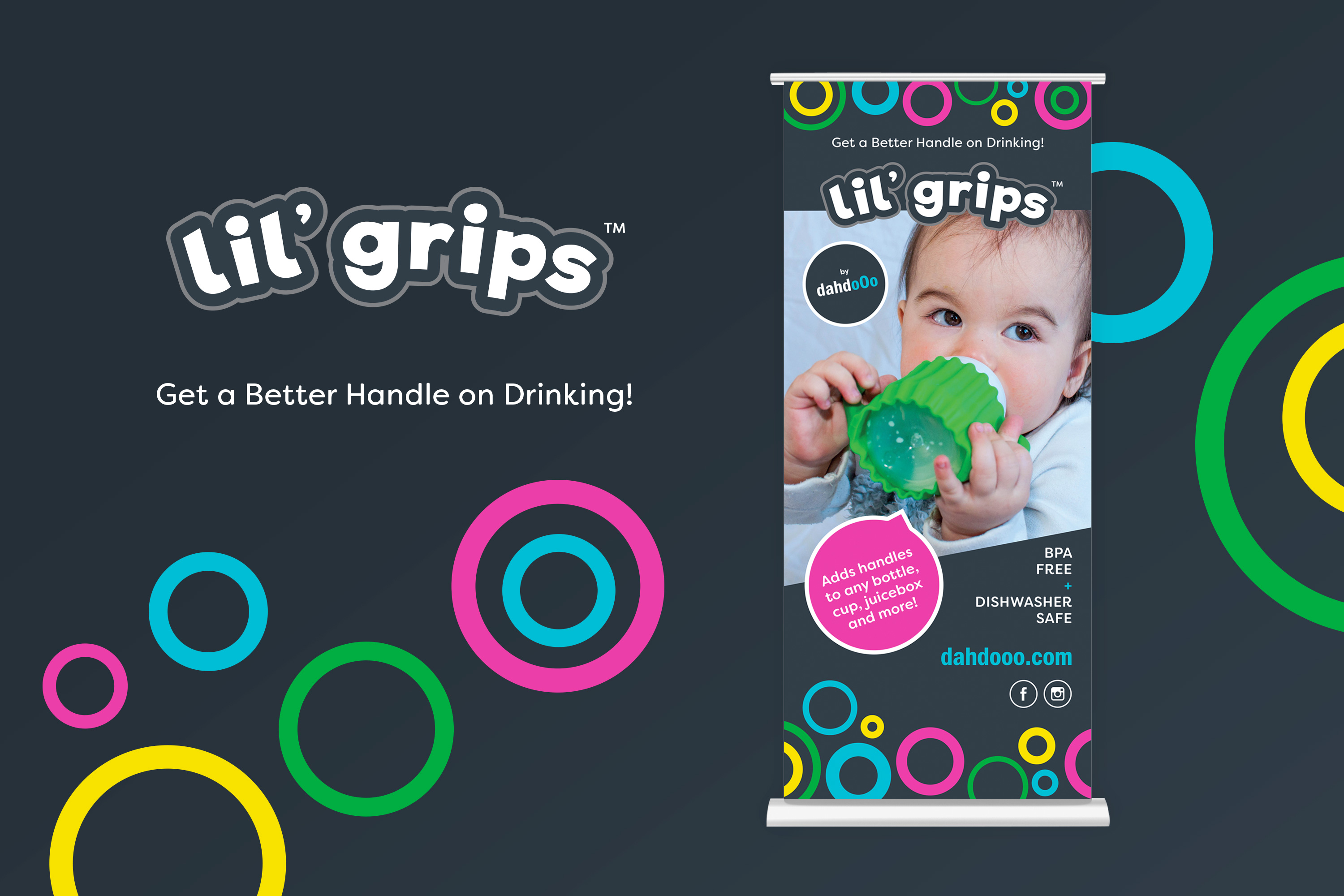 Lil' grips logo and roll-up banner design