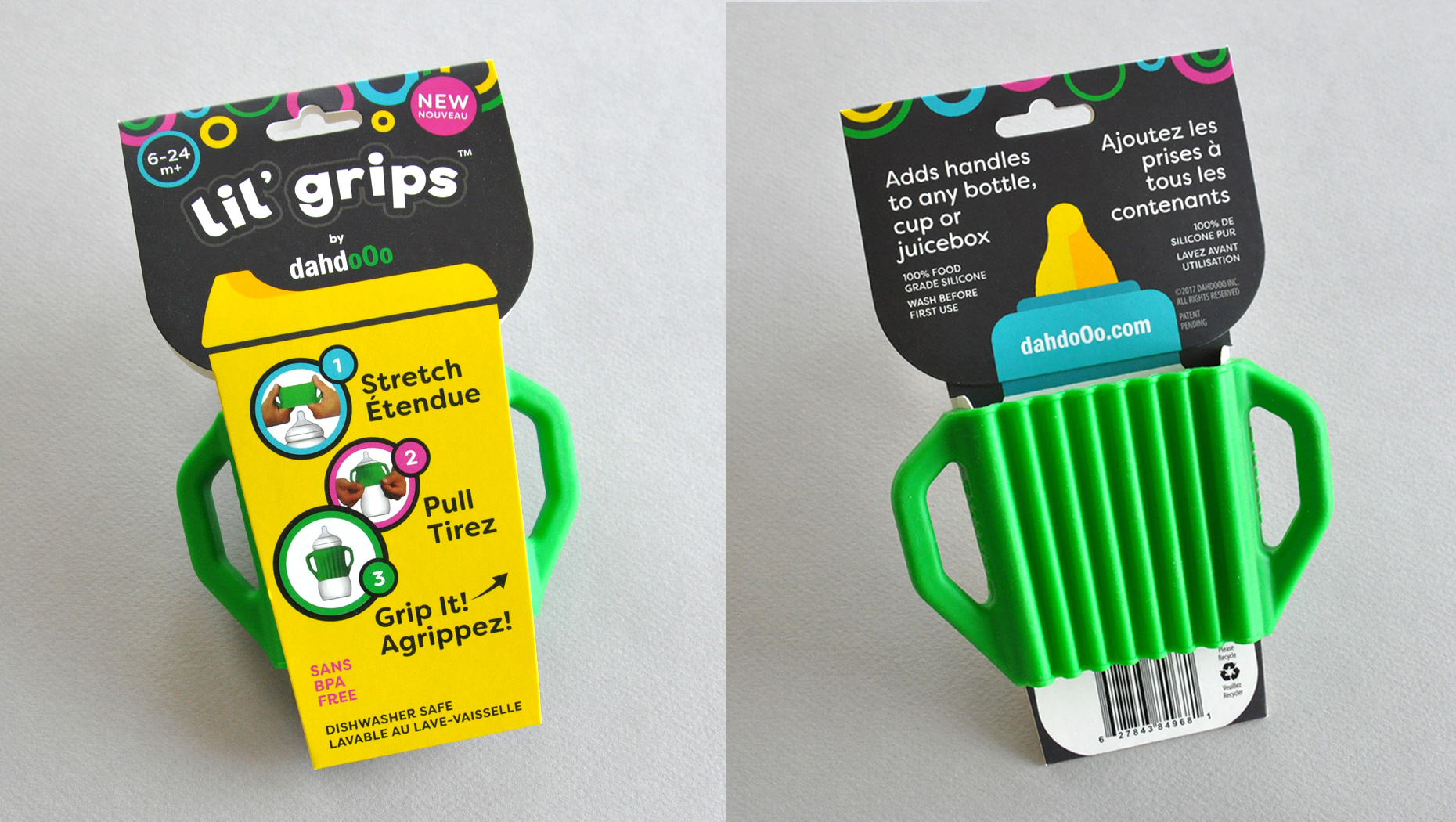 Lil' grips packaging design front and back