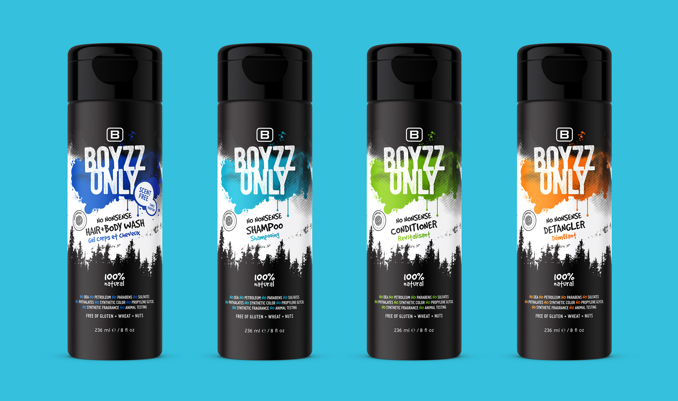 Full line-up of the Boyzz Only product packaging designs