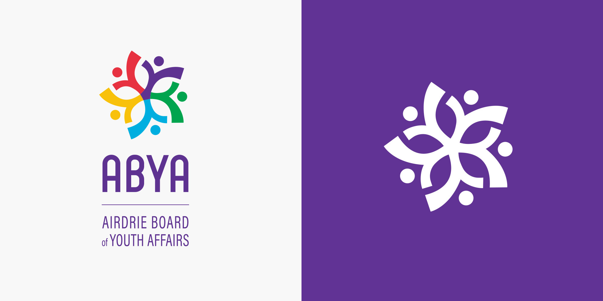 ABYA vertical logo design and icon on purple background