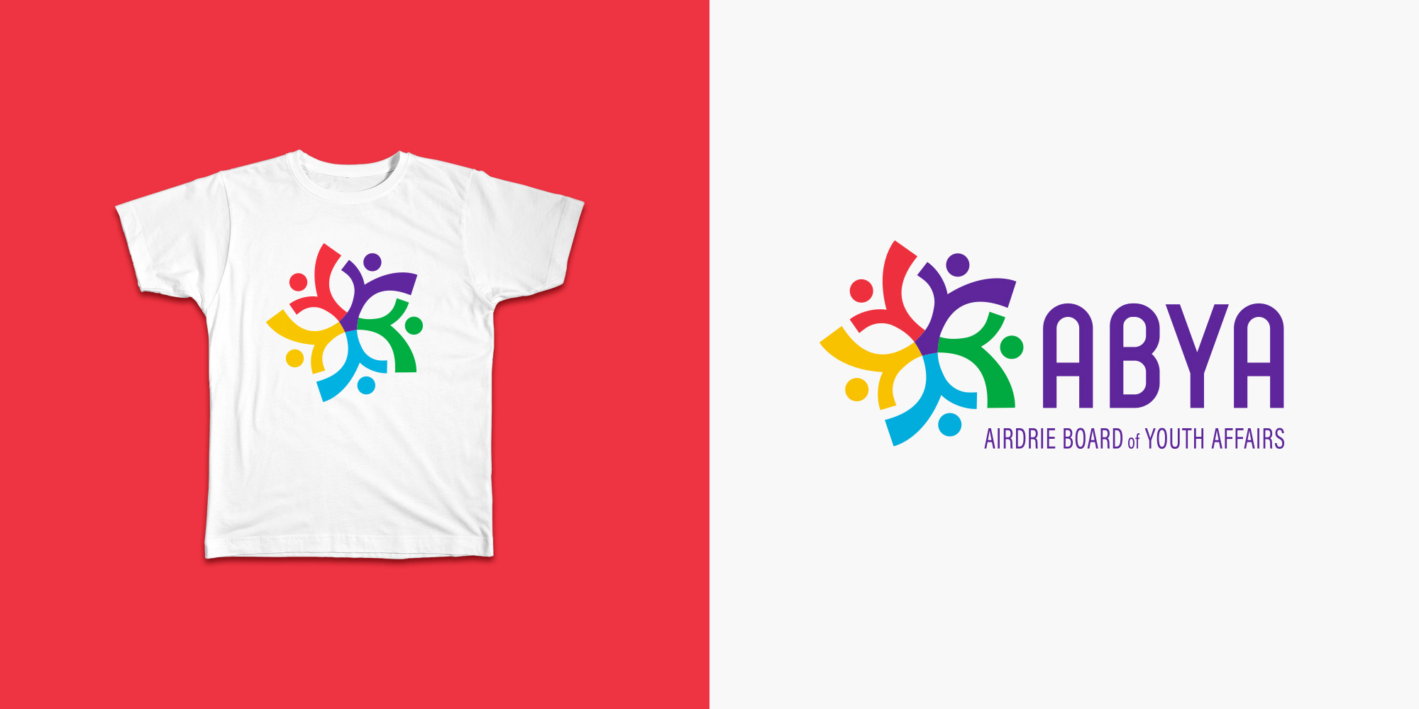 ABYA icon on a t-shirt and an alternative horizontal logo layout