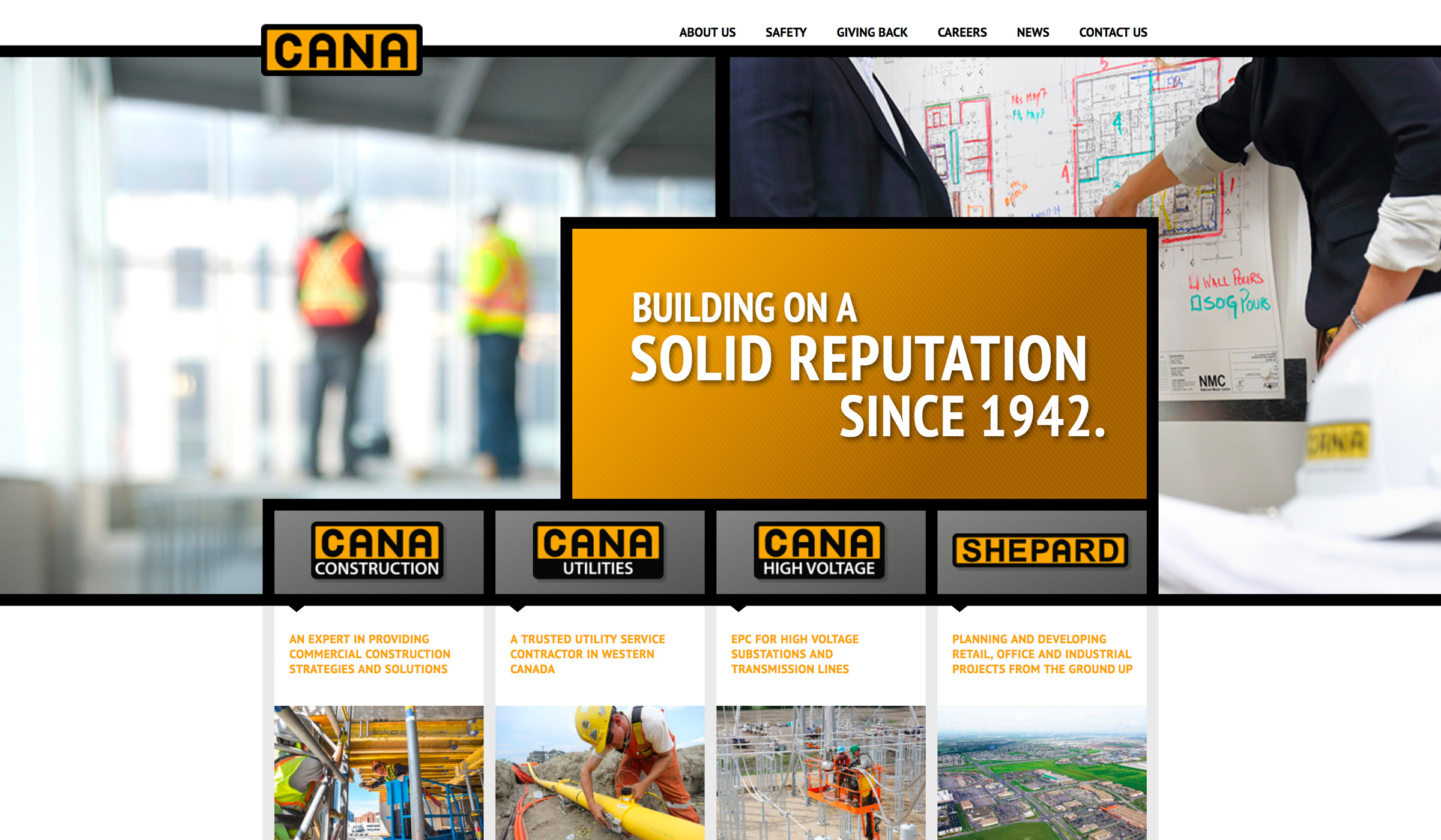 Cana Group website design homepage