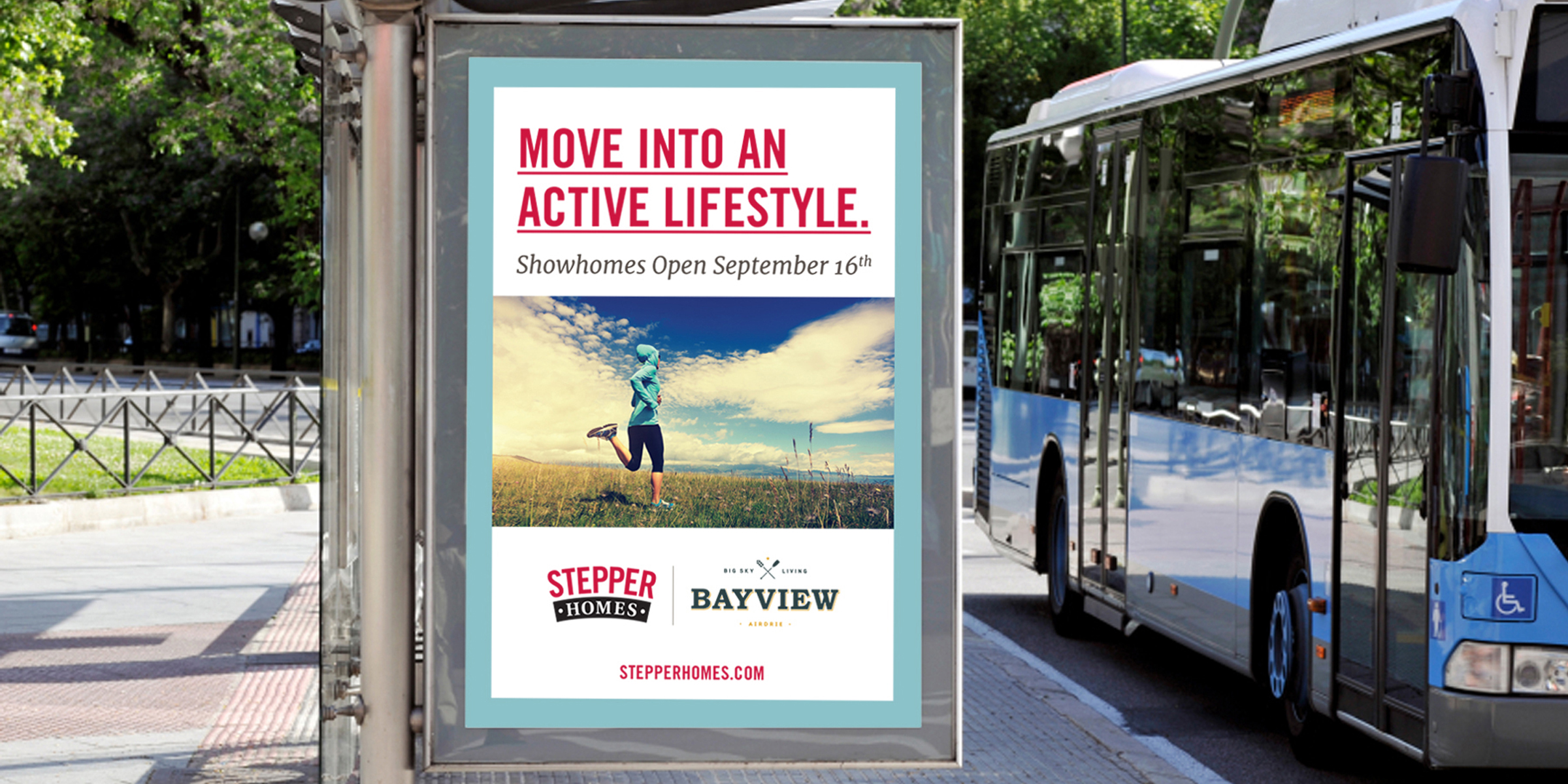 Stepper ad on a bus shelter